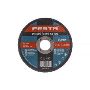 Disc abraziv pentru taierea metalului 115X1.2X22.2MM, Festa, 22212