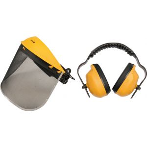 Masca de protectie tip plasa otel si casti antifon, Vorel, 74462