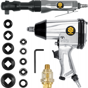 Set pistol de impact 312 Nm si Antrenor pneumatic 61 Nm + 16 accesorii, Vorel, 81141